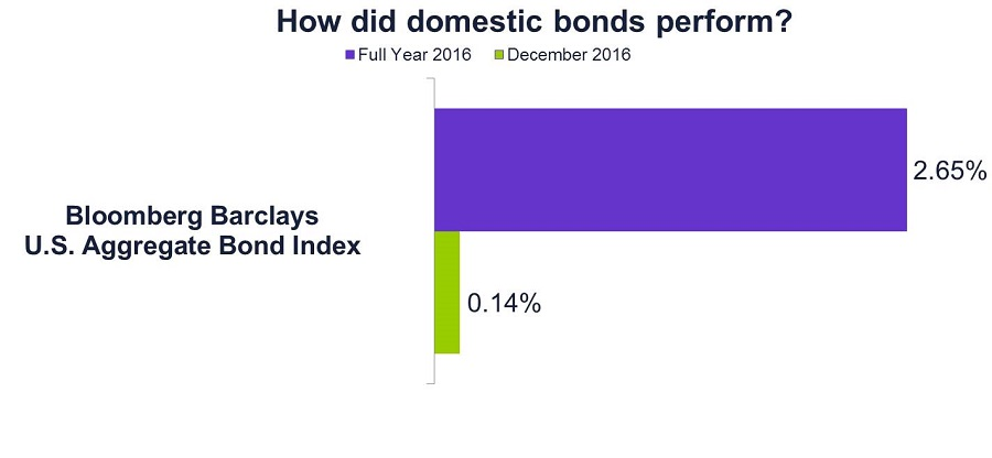 Graph of how domestic bonds performed in 2016