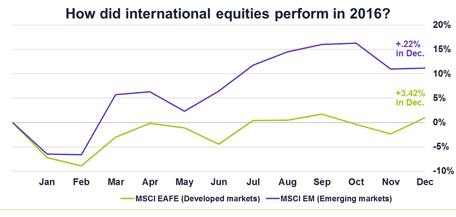 Graph of how international equities performed in 2016