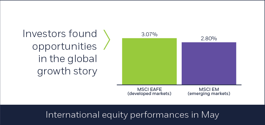 International equity performances in May