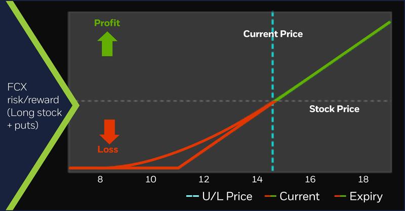 Freeport McMoRan (FCX) risk/reward (long stock plus puts) 10/25/17