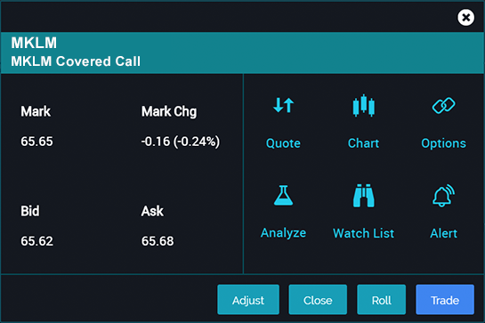 Image of positions page for covered call