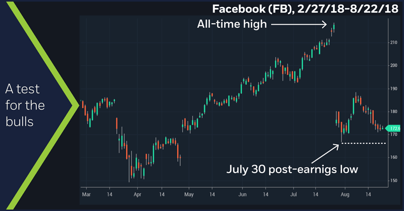 Facebook (FB), 2/27/18–8/22/18. Facebook (FB) price chart. A test for the bulls.