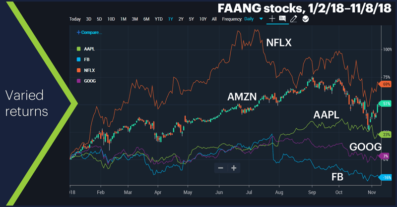 FAANG stocks, 1/2/18–11/8/18. Facebook (FB), Apple (AAPL), Amazon (AMZN), Netflix (NFLX), and Alphabet (GOOG). Varied returns.