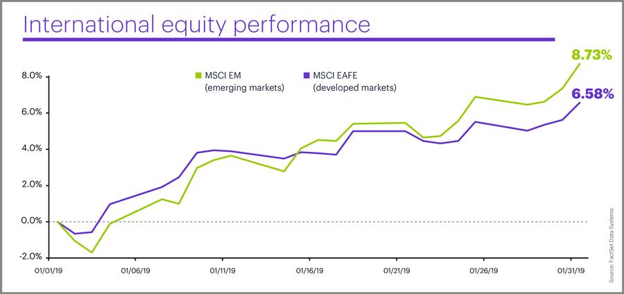 International equity performance, January 2019